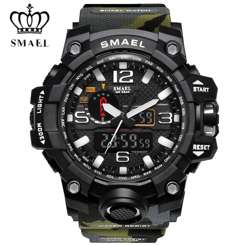 SMAEL Brand Waterproof Fashion Men Watch Sport Analog Quartz-Watch LED Display Digital Electronic Watches relogio masculino