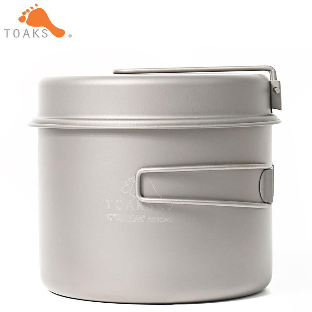 TOAKS CKW-1600 Titanium Outdoor Camping Pan Hiking Cookware Backpacking Cooking Picnic Bowl Pot Pan Set with Folded handle цена