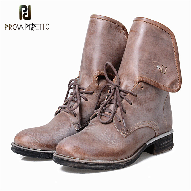 Prova Perfetto Retro Design Fashion High Tongue Of Shoes Round Toe Woman Ankle Boots Cow Genuine Leather Low Heel Lace Up Boots