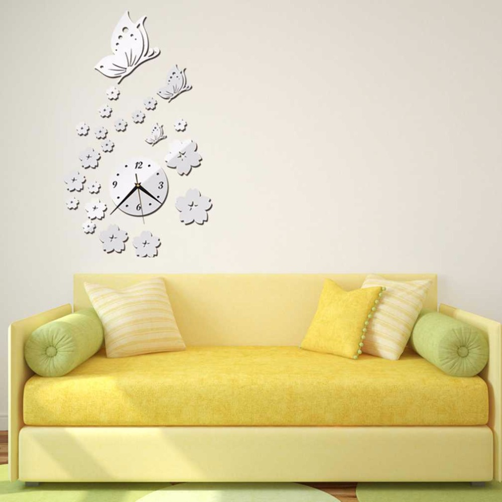 2017 New 2 Colors Mirror Wall Stickers 3D Clock Butterfly Pattern ...