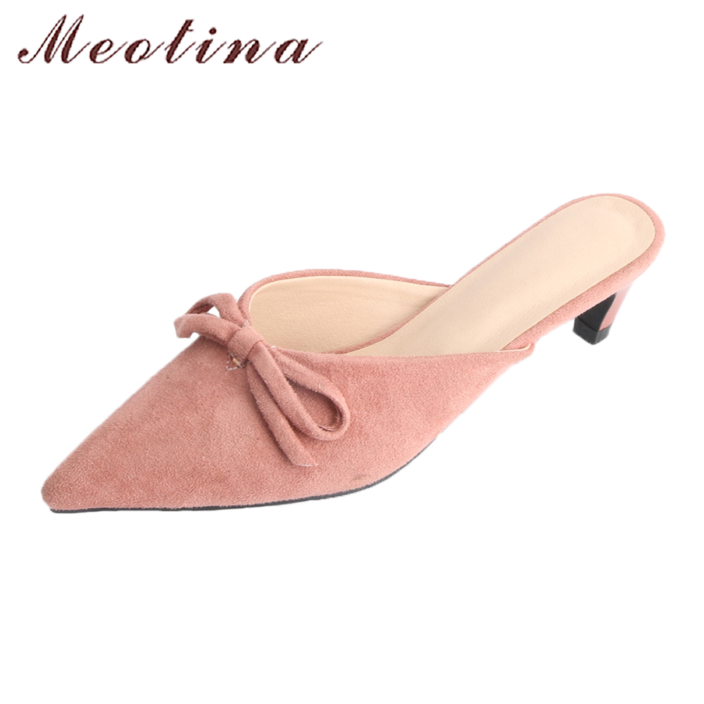 Meotina Women Mules Shoes Spring Kitten Med Heels Pumps Bow-knot Pointed Toe Casual Shoes Slip On 2018 Ladies Shoes Pink Black kjstyrka 2018 brand designer women mules pointed toe ladies shoes med heel sandals black red lattice fashion girls shoes