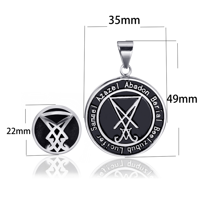 Jewelry Set Sigil of Lucifer Ring Necklace Set Baphomet Goat Pentagram  Satan Symbol Stainless Steel Both Sided Pendant Chain
