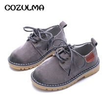COZULMA Boys Girls Sneakers Lace up Leather Kids Fashion Sneakers Children