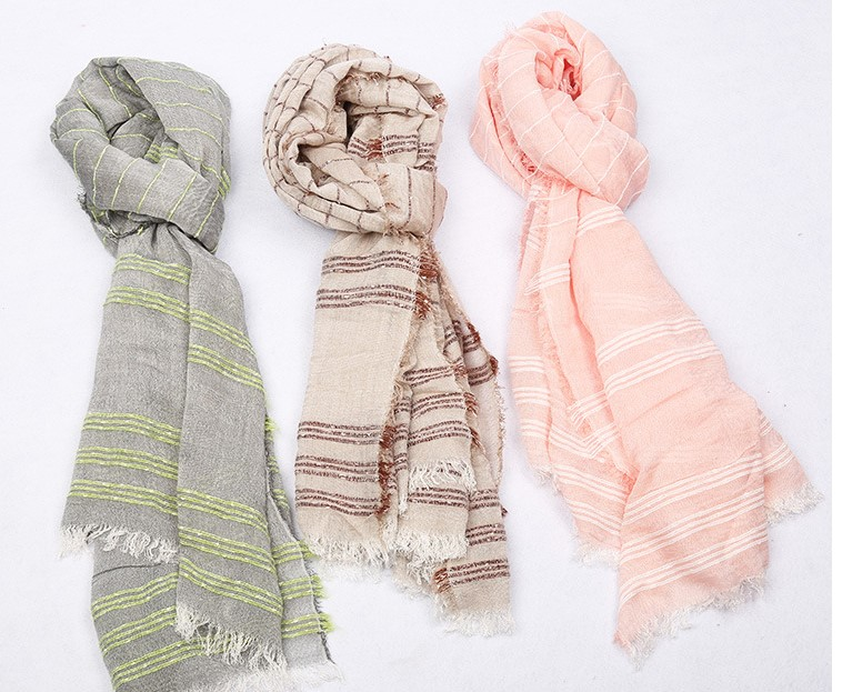 2018 Fashion Women Lurex Stripe Print Fringe Scarves Shawls Beautiful Cotton Stripe Wrap Scarf Hijab 10pcs/lot Free Shipping