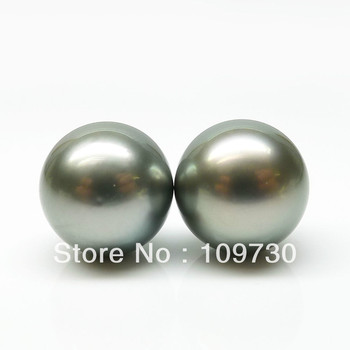 ry00112 BEAUTIFUL!ROUND 2PS 11.35MM GRAY GENUINE LOOSE TAHITIAN PEARL DIY EARRING