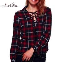 ArtSu Fashion Plaid Blouse Women Casual Bandage Shirt Long Sleeve Classic Blouses Blusas Elegant Slim Shirts