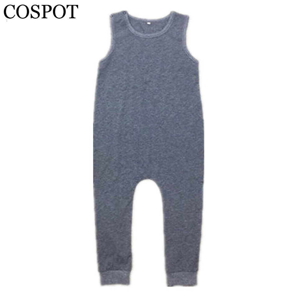 Baby Boys Harem   Rompers   Toddler Summer Plain Gray Jumpsuits Kids Tank Playsuit Boy Fashion Jumper 2017 New Arrival 25F