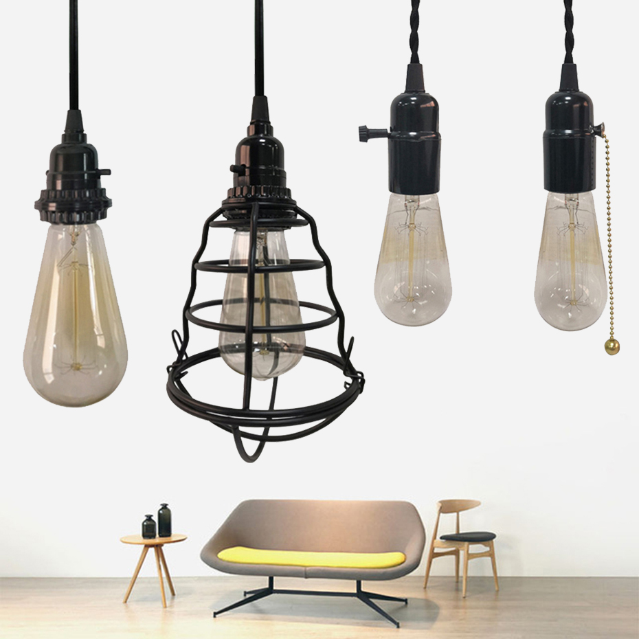 Us 28 12 Modern With Switch Us Eu Plug Pendant Light Black Iron Hanging Cage Led Lamp E27 Dining Room Restaurant Bar Counter Loft Lamps In Pendant