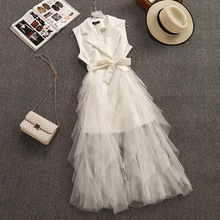 2019 Summer New Arrival French Style Fake Two Pieces Notched Sleeveless Dress Mesh Stitching White Dress With Sash Free Shipping