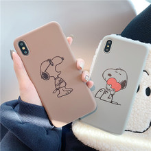 hot deal buy kawaii cartoon snoopys dog phone case for coque iphone 7 7 puls 6 6s 7 8 plus case silicon for iphone cover x xs xr back cover