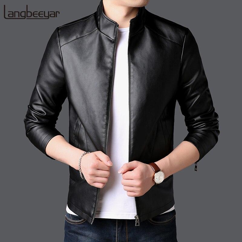 2018 осень зима новый модный бренд искусственная кожа куртка для мужчин мотоцикл уличная пальто корейский черный Высокое качество