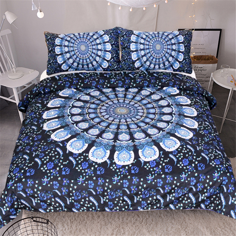 Home Textiles Bedding Set Blue Peacock Screen Printed Twin Queen King Size 3pcs Duvet Cover Flat Sheet Pillow Case Hot SalesizeHome Textiles Bedding Set Blue Peacock Screen Printed Twin Queen King Size 3pcs Duvet Cover Flat Sheet Pillow Case Hot Salesize