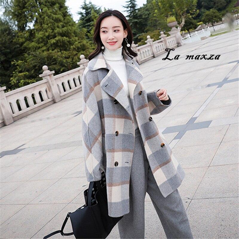 Mantel Warme Gre Winter Fashion Frauen Korean Vintage Langen ntel Plus M Plaid Wolle Lose Style PXiOZTku