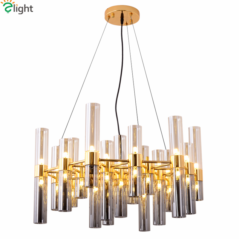 Nordic Creative Bamboom G4 Led Chandelier Plate Gray Glass Lampshades Pendant Chandelier Luminaria Lustre Chandelier Lighting