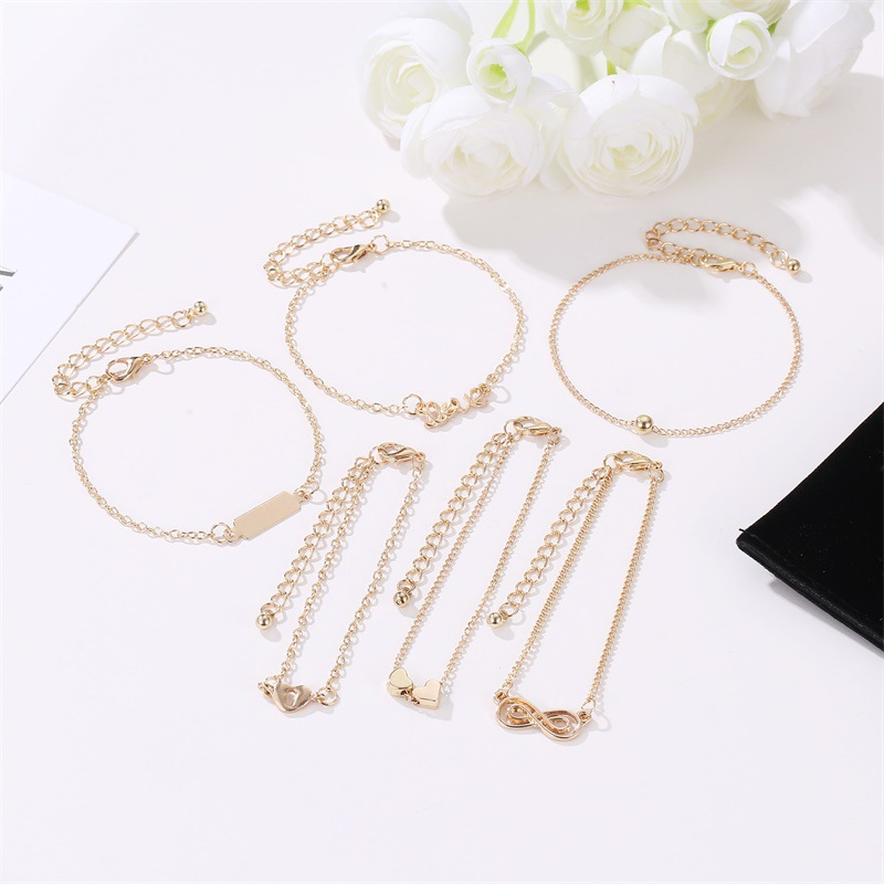 LEADERBEADS 6 Pcs Set Women 39 s Minimalist Gold Heart Love Alphabet Multilayer Adjustable Chain Bracelets Bangles Party Gift in Chain amp Link Bracelets from Jewelry amp Accessories