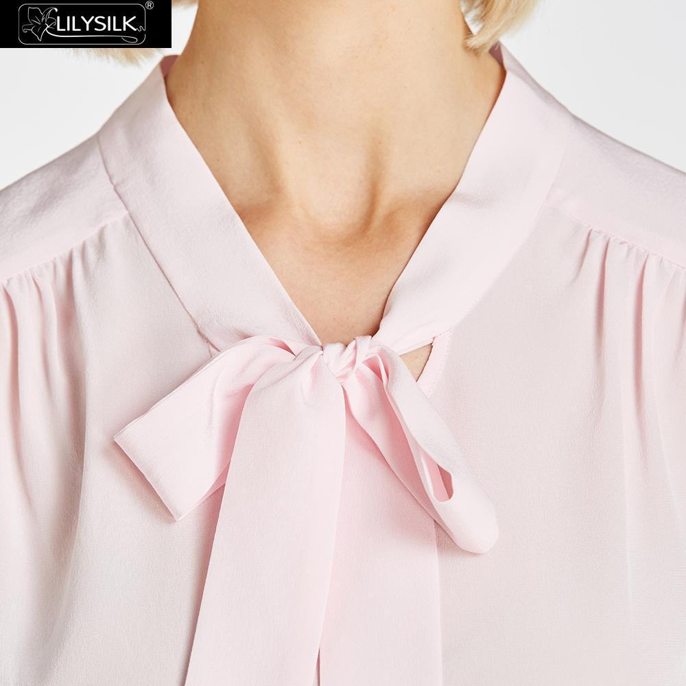 Mujeres Mangas light White Dama Natural Blusa Dulce Las Pink Venta Seda Liquidación Gratis De Sin Lilysilk Envío wx8A6q0IZ6