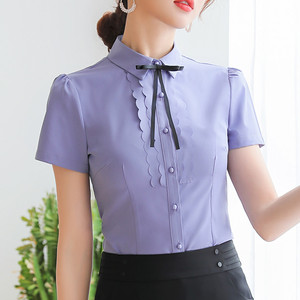 Image 2 - Elegant Women Shirt 2019 New Summer Short Sleeve Slim Bow Tie Chiffon Blouse Office Ladies Formal Work Temperament Tops