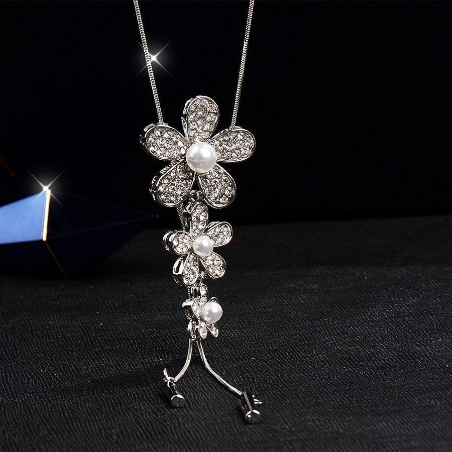 RAVIMOUR Lange Halsketten & Anhänger Silber Farbe Kette Nachgeahmt - Modeschmuck - Foto 6