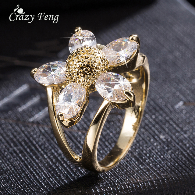Sale Items White Gold-color Flower Shape Crystal Jewelry Fashion Cubic Zirconia