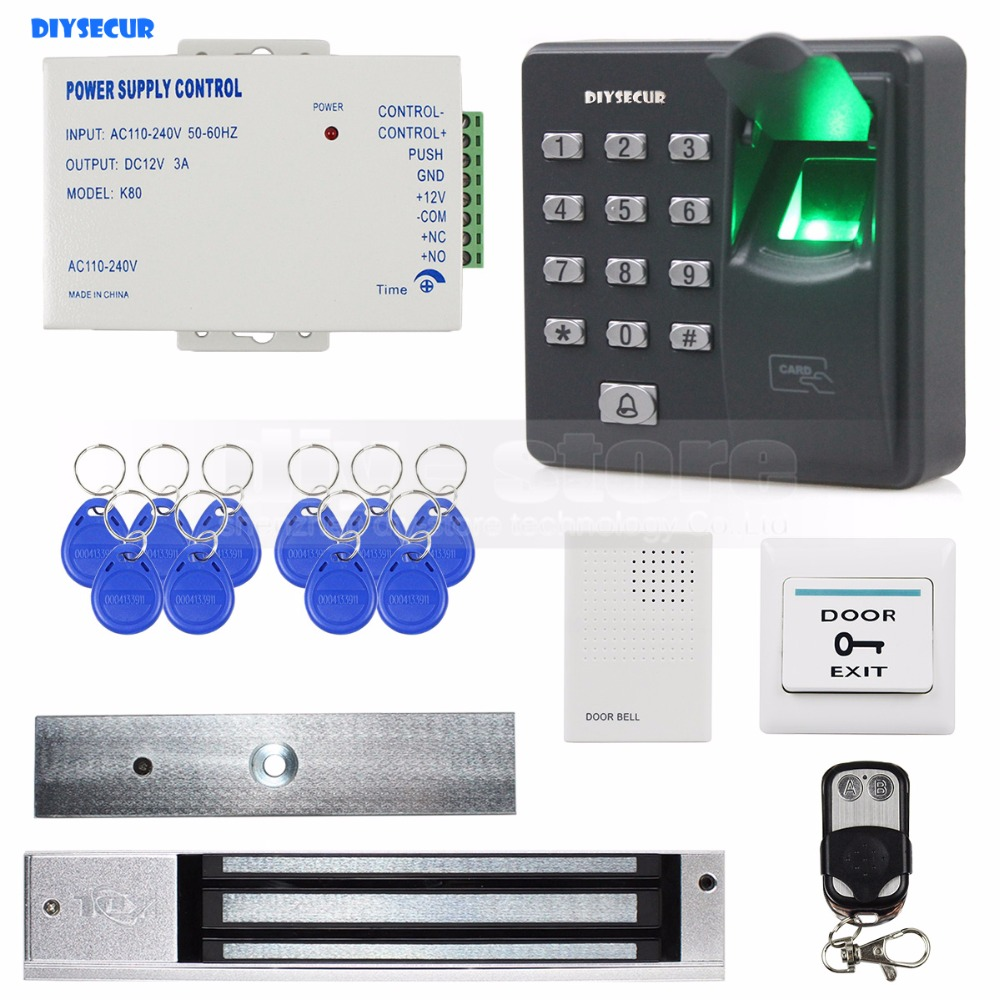 DIYSECUR Biometric Fingerprint RFID 125KHz Keypad Door Access Control System Kit + Electric Magnetic Lock + Door Bell biometric fingerprint access controller tcp ip fingerprint door access control reader