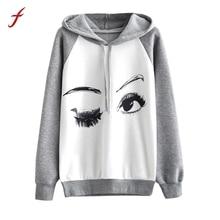 FEITONG 2017 New Autumn Winter Hoodie Sweatshirt Womens Fashion Eyes Print Long Sleeve Jumper Pullover Casual sweatshirt Female