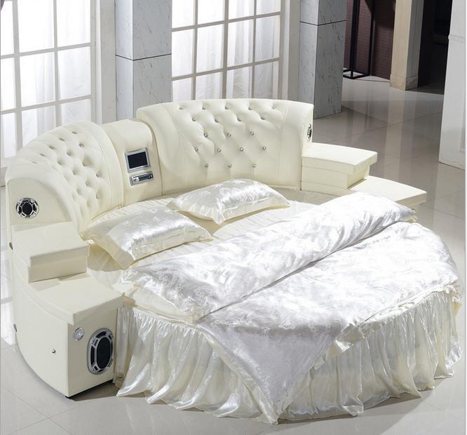 Real Genuine Leather Bed Frame Soft Bed Home Bedroom Massage Speaker System Camas Lit Muebles De Dormitorio Yatak Mobilya Quarto