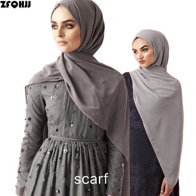 1446c002eb87 ZFQHJJ Haute Qualité Femmes Bulle En Mousseline De Soie Foulard Musulman  Hijab Tête Enveloppe Longue Grande
