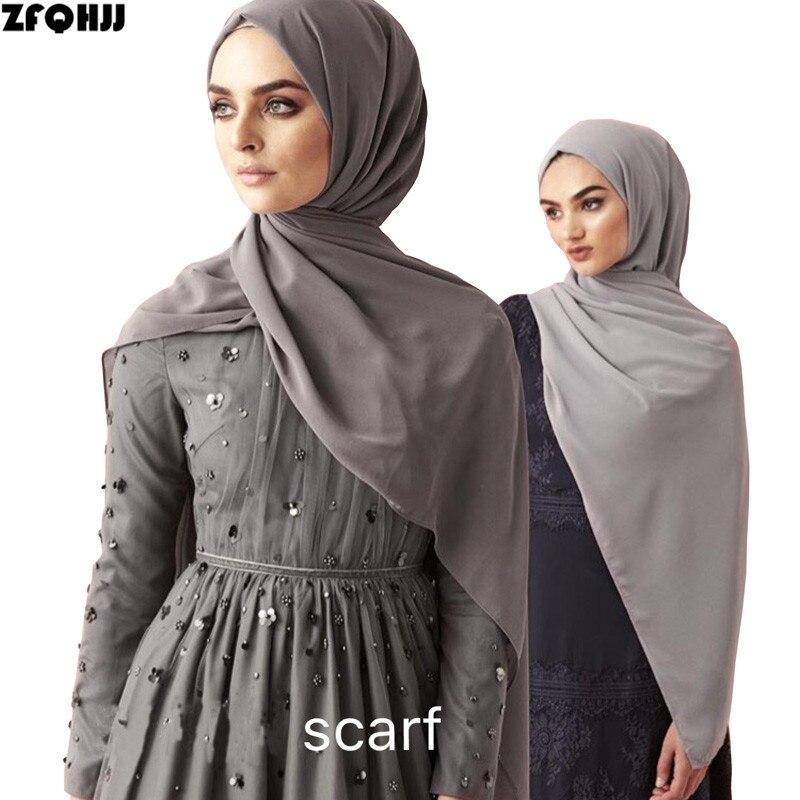 ZFQHJJ High Quality Women Bubble Chiffon Muslim Hijab Scarf Head Wraps Long Large Plain Solid Color Turkish Turkey Scarves Shawl