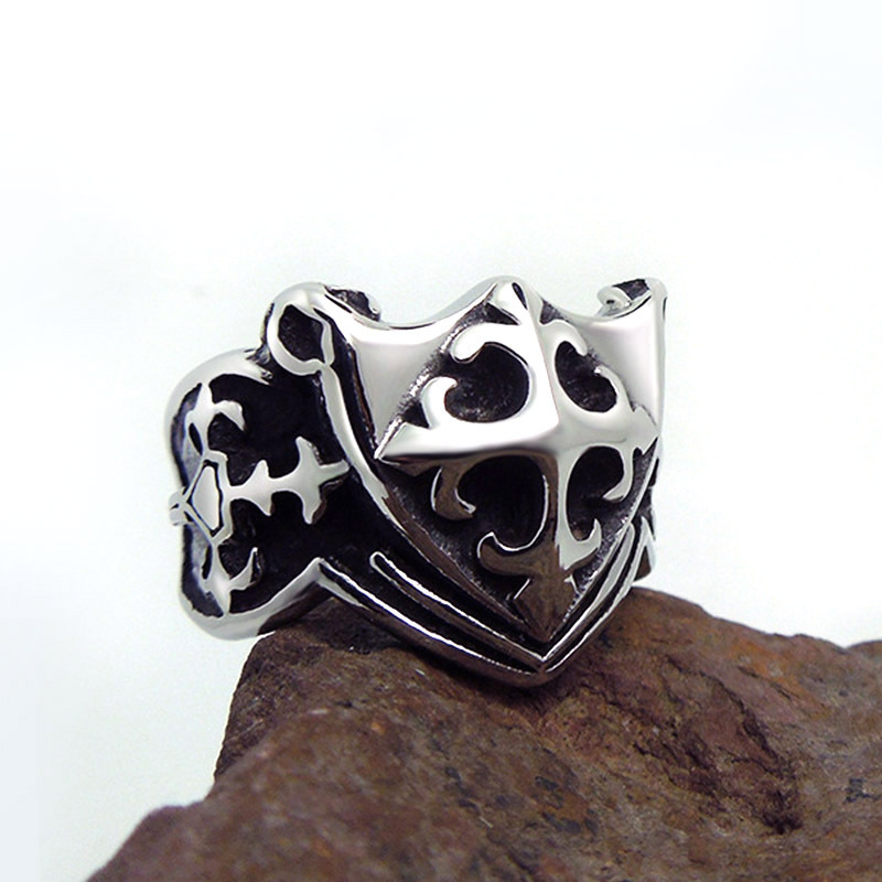 1pcs Europe fashion Polishing Cross pattern Scout flower Shield ring - Fashion Jewelry - Photo 3