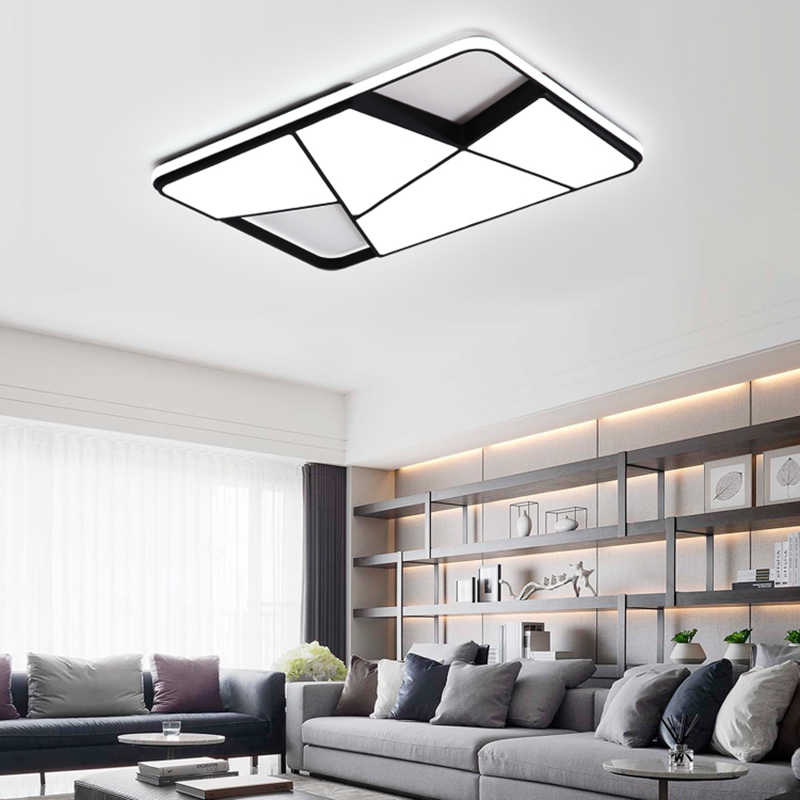 NEO Gleam Rectangle modern led chandelier for living room bedroom study room white or black 95-265V square chandelier with RC