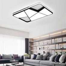 NEO Gleam Rectangle modern led chandelier for living room bedroom study white or black 95-265V square with RC