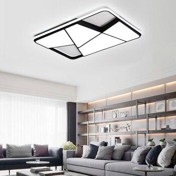 NEO Gleam, candelabro led rectangular moderno para sala de estar dormitorio estudio blanco o negro 95-265 V, candelabro cuadrado con RC