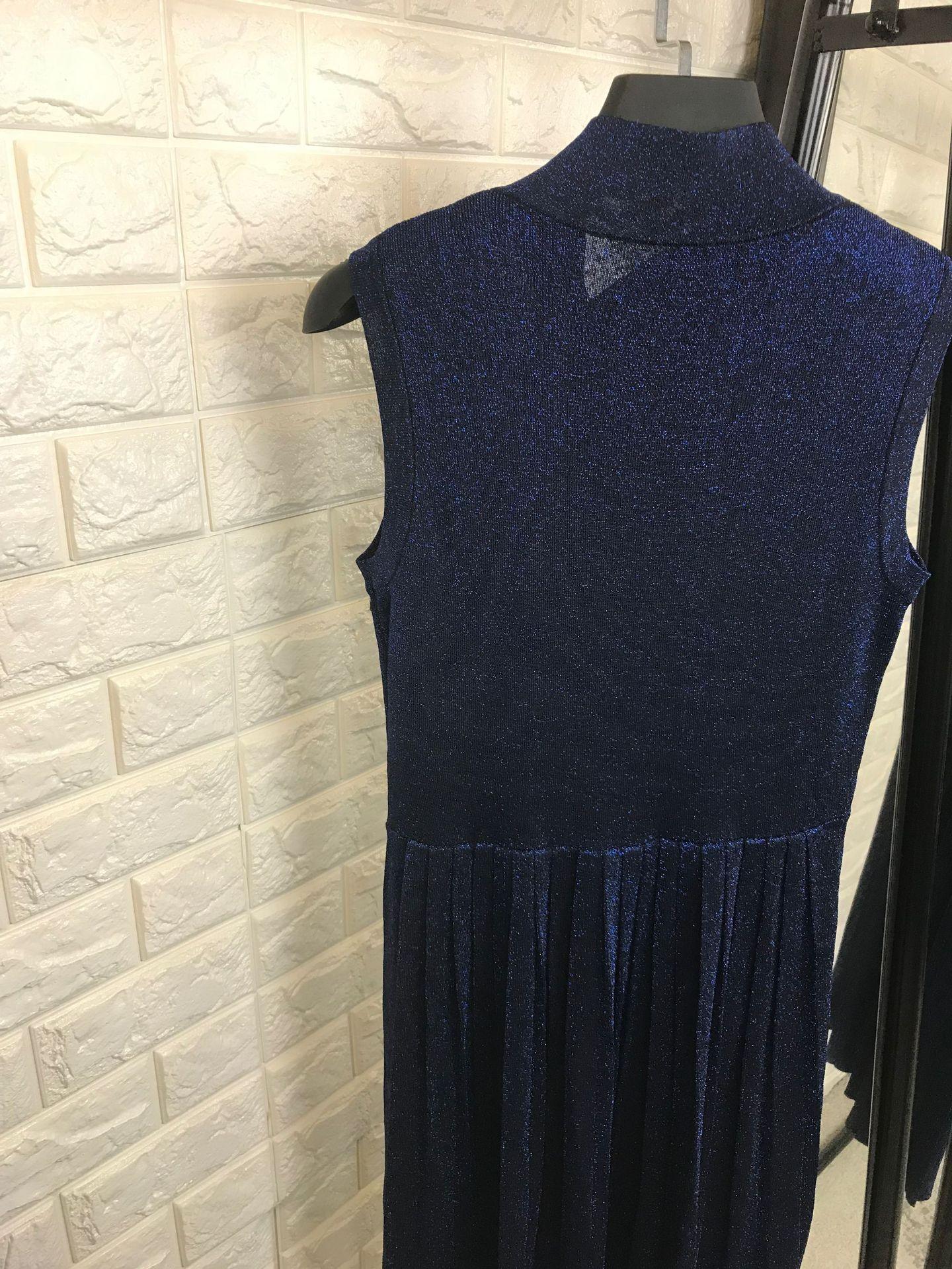 Élégant 2018 Nouvelle Noir Sans Gris Arc Automne Lurex Pull Hiver Manches Habille En Plissée Mode Blue La gris Tricot noir De Femmes Robe Bleu Col CtqFa