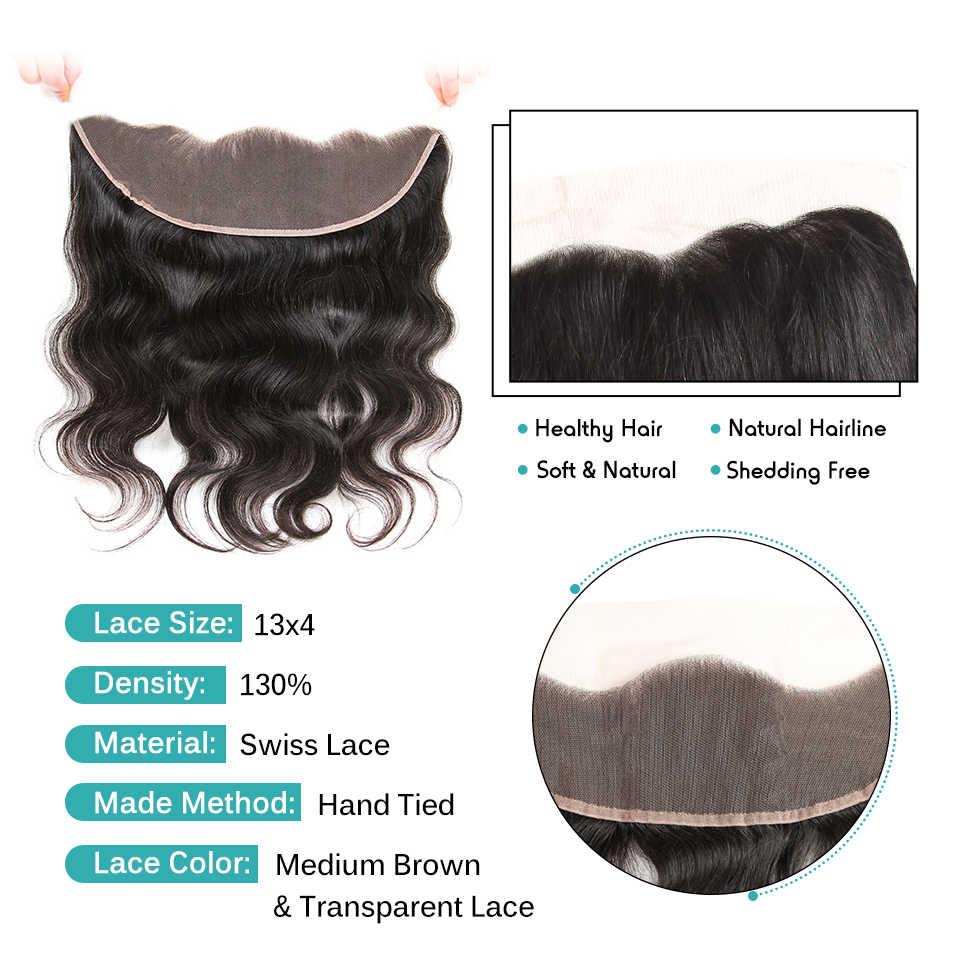 Ali Grace волосы бразильские объемные Волнистые Кружева Фронтальная 13X4 уха до уха свободная средняя часть 100% Remy человеческие волосы прозрачный фронтальный
