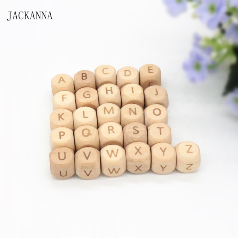 50PCS Letter 12MM Wood Teether Letter Beads Teething Toy DIY Crafts Chew Necklace Wooden Teether Alphabet Bead Baby Accessories
