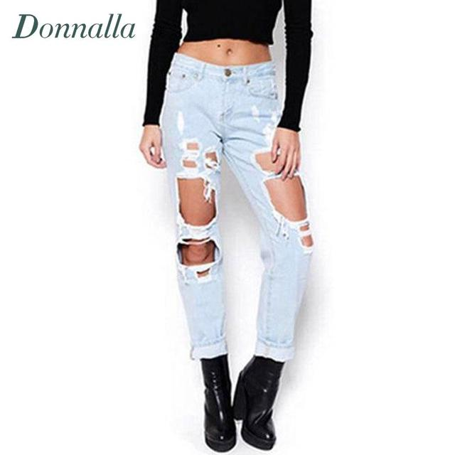 Aliexpress.com : Buy Hole Jeans Women Boyfriend Style Ripped Jeans ...