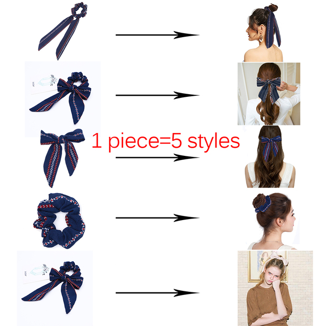 Bow Streamers Hair Ring Ribbon Girl Bands Scrunchies Horsetail Tie 1