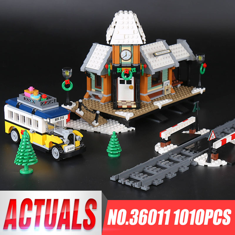 Lepin 36011 Genuine 1010Pcs Creative Series The Winter Village Station Set Building Blocks Bricks Children Educational Toys lepin 36010 genuine creative series the winter village market set legoing 10235 building blocks bricks educational toys as gift