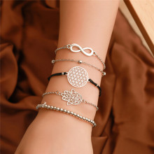 TTLIFE Bohemian Black Rope Chain Bracelets Bangles For Women Fashion Heart Compass Gold Color Sets Jewelry Gifts