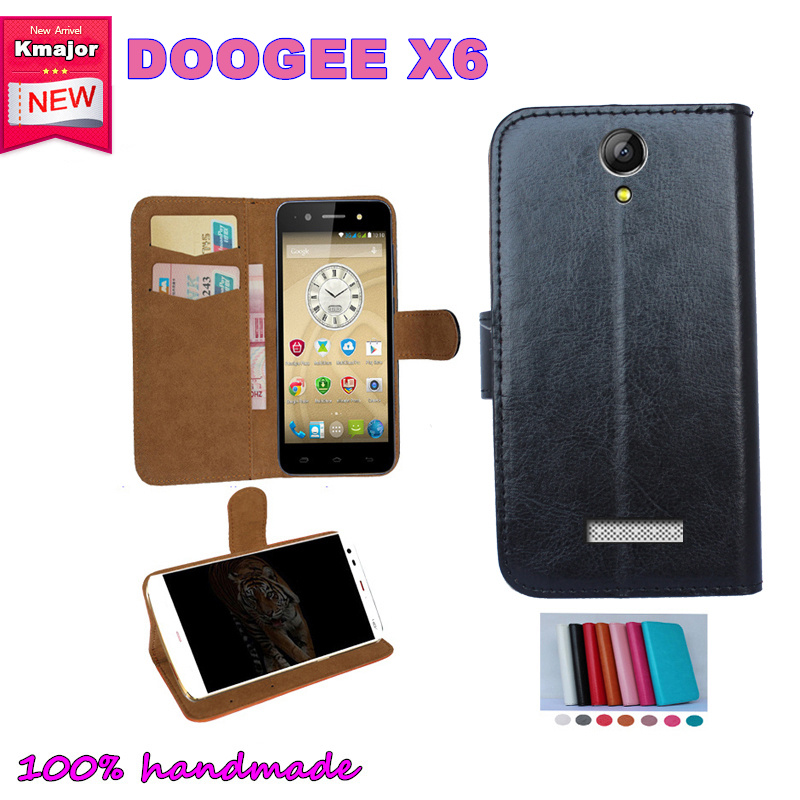 Doogee X6 Case, Flip Leather <font><b>Smartphone</b></font> Slip-resistant Case for Doogee X6 <font><b>Pouch</b></font> Cover Card Slots Wallet 7 Colors
