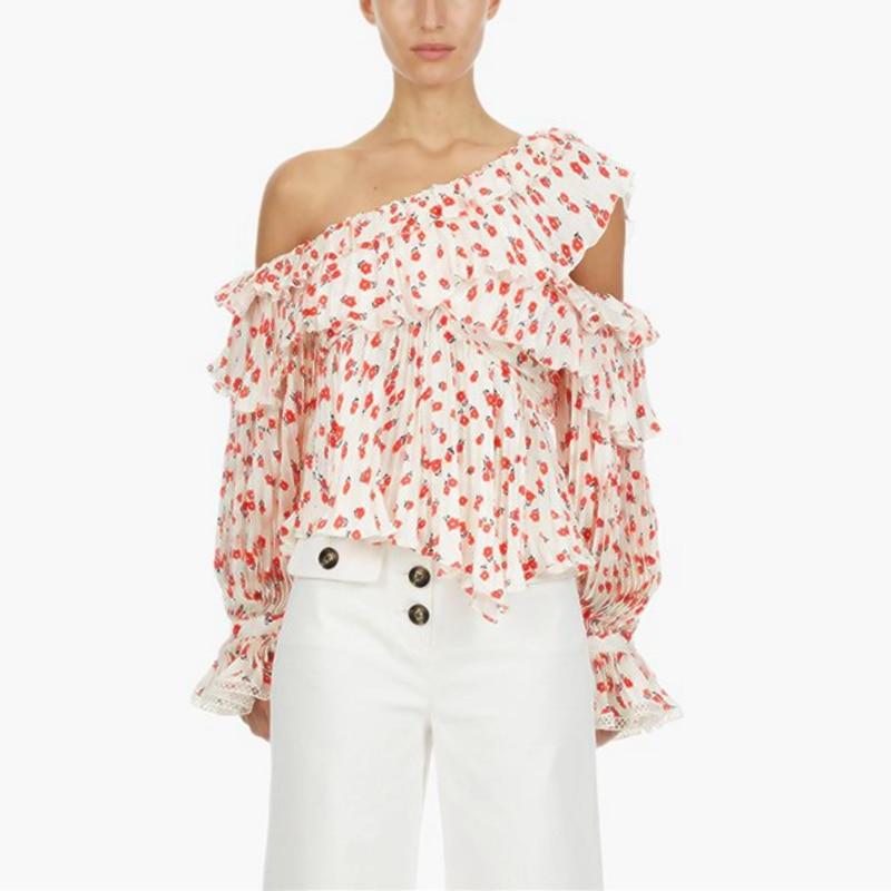 Auto Portrait Designer été en mousseline de soie Blouse femmes 2019 Sexy hors épaule rouge Floral imprimé à volants dames hauts 2019 chemise plissée