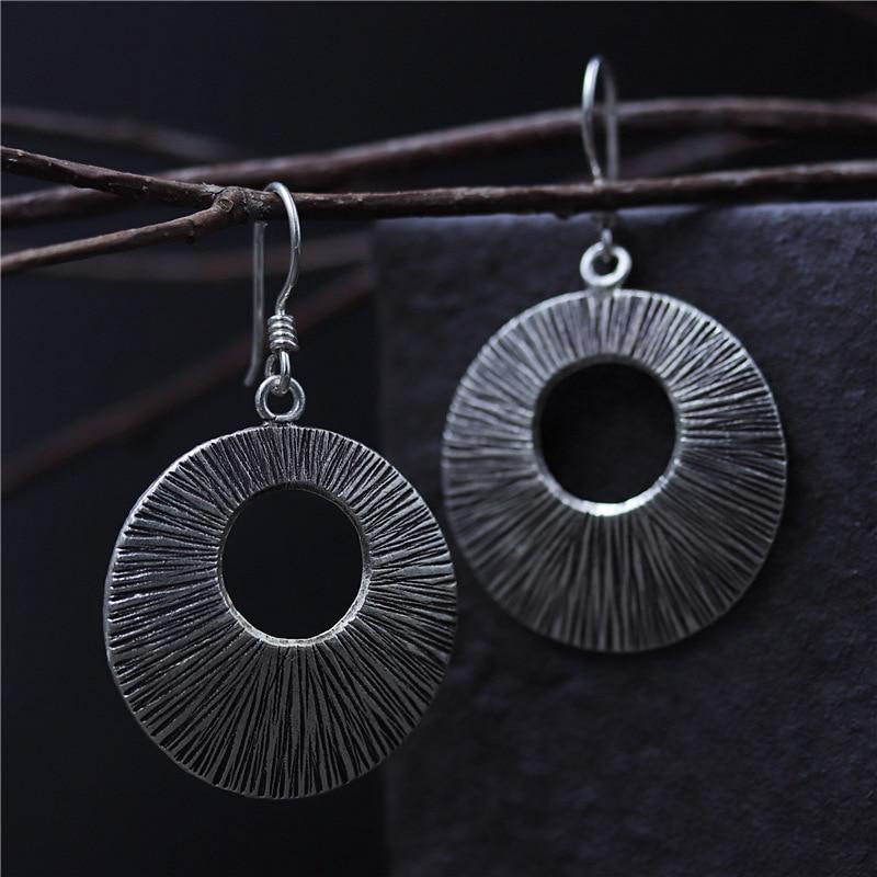 C&R Real 925 Sterling Silver Earrings for Women Round Shape Hole Carved Pattern Thai Silver Drop Earrings Handmade Fine Jewelry