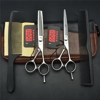 4Pcs Set 5.5''/6'' JP Kasho 440C Professional Human Hair Scissors Hairdressing Scissors Cutting Shears + Thinning + Combs H1021