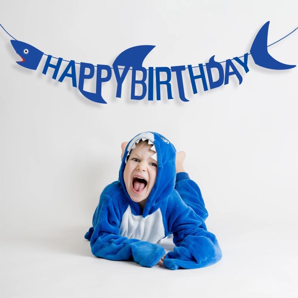 Blue Sea Shark Theme Happy Birthday Party Decoration Baby Shower Cartoon Shark Happy Birthday Banner Kids Birthday Party Favors Party Diy Decorations Aliexpress