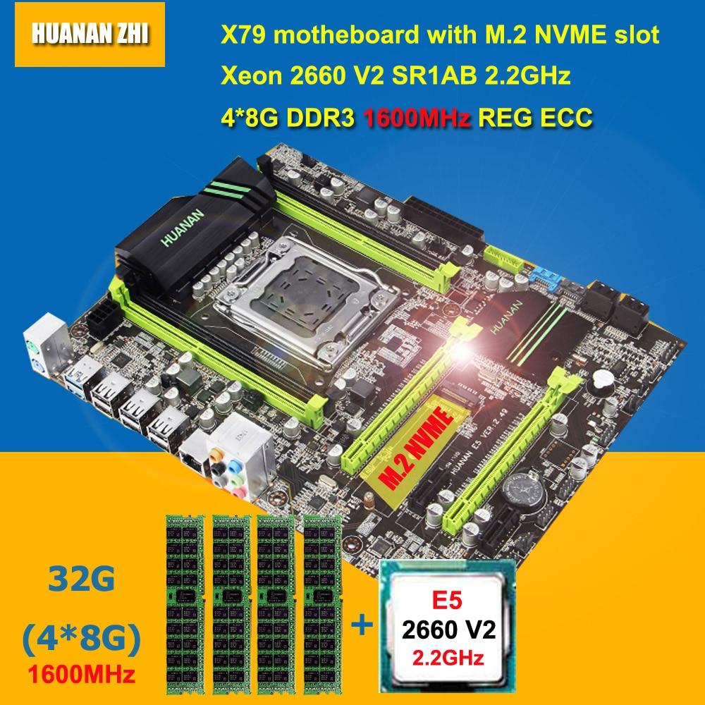 Meilleure marque HUANAN ZHI X79 carte mère avec M.2 NVME slot CPU RAM faisceau CPU Intel Xeon E5 2660 V2 SR1AB RAM 32g DDR3 1600 RECC