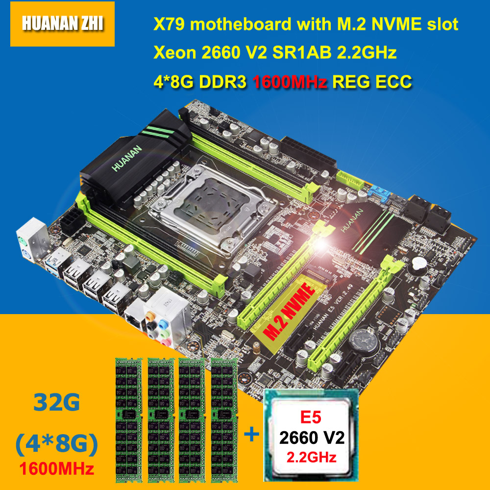 Offre Spéciale HUANAN ZHI X79 carte mère avec M.2 NVME slot CPU RAM faisceau CPU Intel Xeon E5 2660 V2 SR1AB RAM 32g DDR3 1600 REG ECC