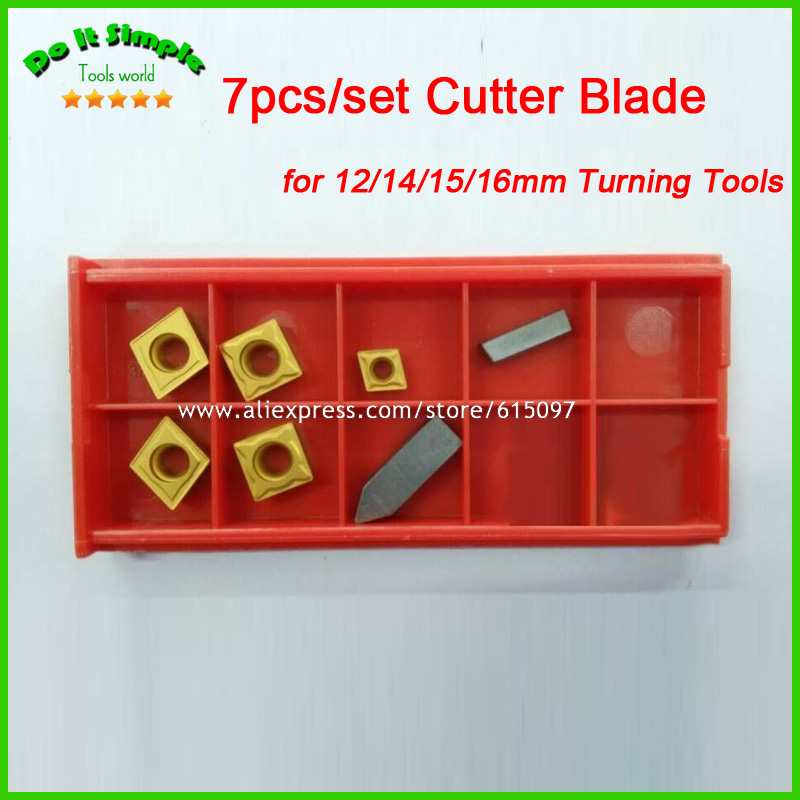 7pcs/set Blade for 12mm/14mm/15mm/16mm  Hard Alloy Turning CNC Lathe Tool Kits Cutter , Durable Cutting Tools Higher Quality 2mm wide blade cutter rod 12mm outer diameter cutting arbor external grooving lathe tool holder width grooving parting cutting