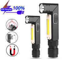 10000LM latarka LED Ultra jasne, wodoodporne oświetlenie COB USB latarka akumulatorowa ogon magnes światło robocze obracać się o wbudowana bateria