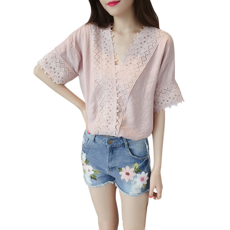 Summer New Casual Women Short Sleeve V Neck Lace Chiffon Tops Blouse