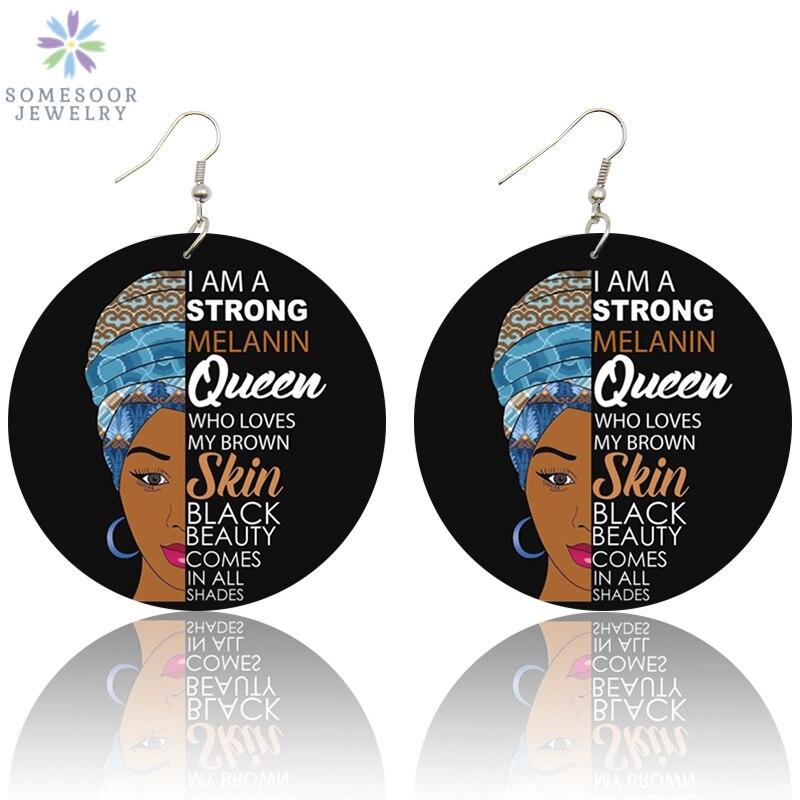 SOMESOOR Printed Black Beauty HBCU Queen African Wood Drop Earrings Strong Melanin Afro Wood Pendant Jewelry For Lady Women Gift in Drop Earrings from Jewelry Accessories